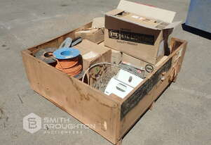 CRATE OF ASSORTED GRINDING WHEELS, ELECTRICAL CABLE, ELECTRICAL COMPONENTS & LIGHTS