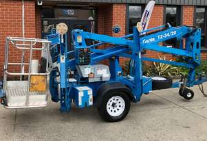 USED 2007 GENIE TZ34/20 TRAILER MOUNTED BOOM LIFT / TOWABLE BOOM LIFT