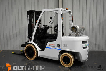 Nissan 3.5 Tonne Forklift with Rotator LPG EFI Engine Container Mast Markless Solid Tyres