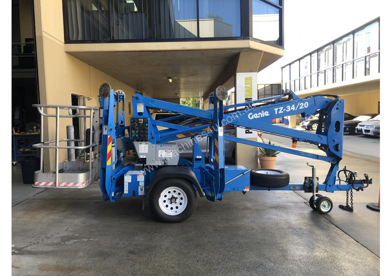 RARE Genie TZ34/20 Trailer Mounted Cherry Picker, with Rotating basket.