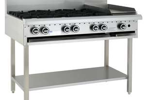 6 Burner 300mm Griddle Cooktop with legs & shelf