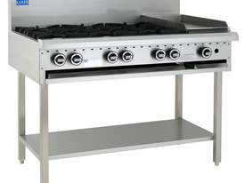 6 Burner 300mm Griddle Cooktop with legs & shelf - picture0' - Click to enlarge