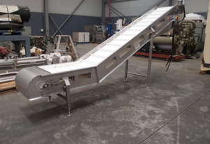 Incline Cleated Belt Conveyor, 4400mm L x 600mm W x 1900mm H