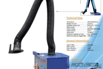 CleanGo Mobile fume extraction unit. Includes optional Evolution Fume arm as shown