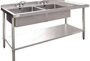 Vogue Double Bowl Sink R/H Drainer 1500mm