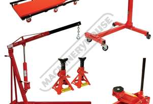ALP-1 Automotive Lifting Garage Package Includes Engine Crane, Engine Stand, Trolley Jack, Axle Stan