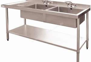 Vogue Double Bowl Sink L/H Drainer 1500mm