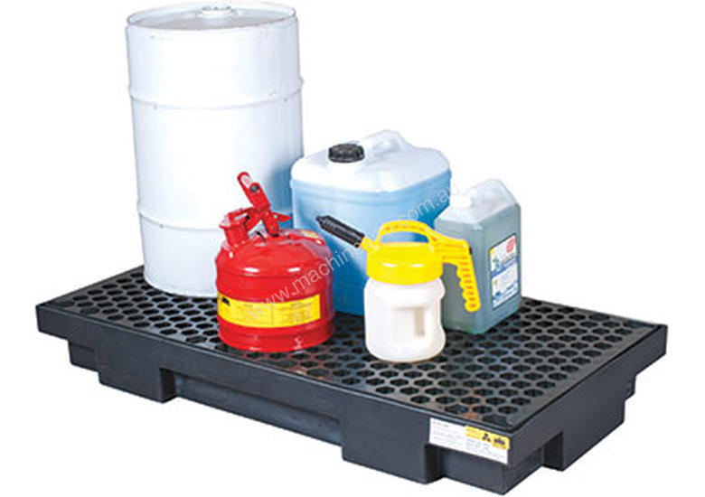 Drum Bunds & Spill Pallets. 2 drums - low profile polyethylene with removable grate