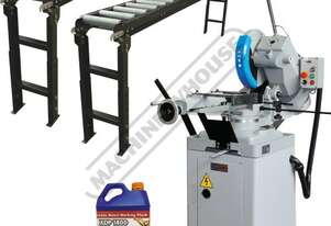CS-350V Cold Saw, Includes Roller Conveyor & Stand Package Deal 160 x 90mm Rectangle Capacity Ø350m