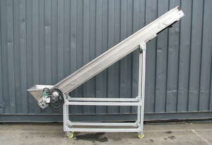 Large Stainless Incline Motorised Belt Conveyor - 2.1m long