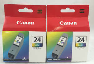 2X Genuine Canon BCI-24 Cartridges 24 Color 5ml