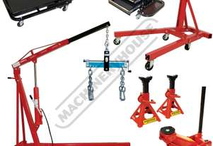 ALP-2 Automotive Lifting Workshop Package Includes Engine Crane, Engine Stand, Trolley Jack, Axle St