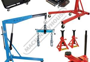 ALP-3 Automotive Lifting Mechanics Package Includes Engine Crane, Engine Stand, Trolley Jack, Axle S