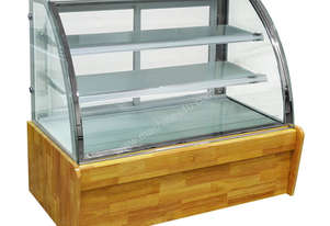 F.E.D. CS-1200W2 Bonvue Chilled Curved Glass Wood Base Food display