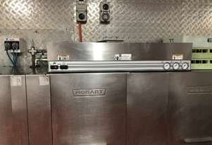 Hobart Commercial potwasher 2-tank rack conveyor 90% off! FREE racks +FREE stainless benches!