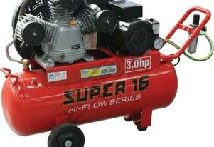 SUPER 16 Air Compressor 60 Litre Tank / 3hp 16cfm / 453lpm Displacement