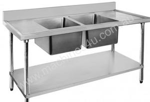 Economic 304 Grade SS Centre  Double Sink Bench