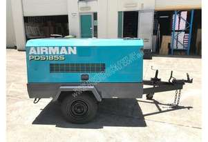 Portable Diesel Airman PDS 185 CFM Air Compressors on road tow chassis