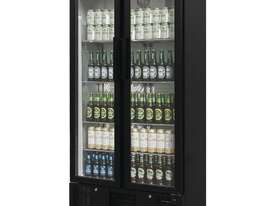 Polar GJ449-A - Double Door Bar Display Cooler 490Ltr Black Double Hinged Doors - picture2' - Click to enlarge