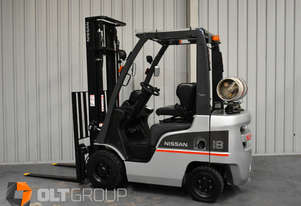 Used Nissan 1.8 Tonne Forklift LPG 3700mm Lift Height Sideshift Clear View Mast