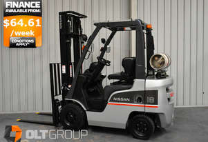Nissan 1.8 Tonne Forklift LPG 3700mm Lift Height Sideshift Clear View Mast