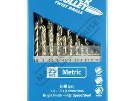 D123 Metric Precision HSS Drill Set - 25 Piece Ø1-Ø13mm 0.5mm Increments - picture3' - Click to enlarge