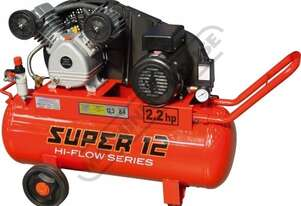 SUPER 12 Air Compressor 60 Litre Tank / 2.2hp 12.3cfm / 348lpm Piston Displacement