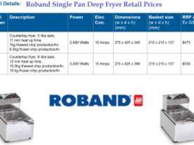 Roband - F18 - Single Pan Fryers / 8 Liter Capacity - picture1' - Click to enlarge