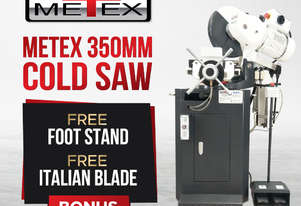PRE-ORDER METEX Semi-Automatic 350mm Metal Cold Saw Heavy Duty Pneumatic Vice & Power Feed