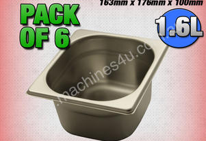 6 PACK OF 1/6 GASTRONORM TRAY 100MM