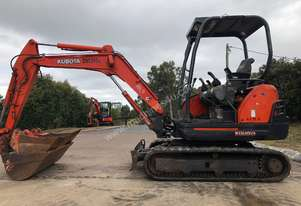 Kubota KX71-3 2.8Tonne Rubber Tracked, Hyd Quick Hitch, 1200mm Mud, 600mm, 450mm, & 300mm Bucket