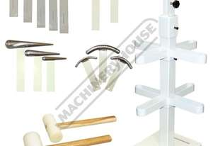NM-2K1 Metal Restoration Tool Package Deal Mallets, Curved Dollies, T-Dollies & Stand