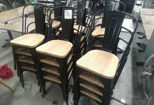 Bolero Steel Chairs With Wooden Seat