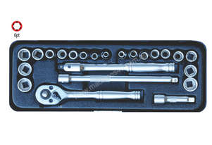 A75303 - 23 PC 1/4'' SQ. DR. 6PT SOCKET SET MM/SAE