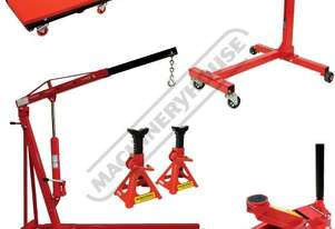 ALP-1 Automotive Lifting Garage Package Deal Includes Engine Crane, Engine Stand, Trolley Jack, Axle