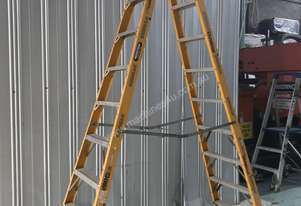 Gorilla Fibreglass & Aluminum Step Ladder 3.1 Meter Double Sided Industrial 150 kg SWL