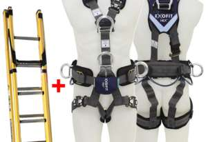 Branach Fiberglass Extension Ladder 2.7 to 3.9m with Exofit Safety Harness