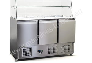 3 Door Glass Top Saladette Fridge - 12 x G/N 1/3 t