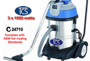 TCS Commercial Industrial 60L Wet & Dry Vacuum Cleaner 3 x 1000W Ametek Motors