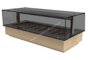 FPG GNH04-GT-SO-F Heated Food Cabinet with Gantry & Flat Serve Over Glass - 4 Pans