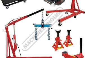 ALP-2 Automotive Lifting Workshop Package Deal Includes Engine Crane, Engine Stand, Trolley Jack, Ax