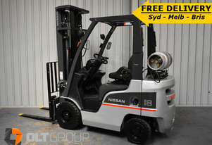2013 Used Nissan 1.8 Tonne Forklift 5.5m Lift Height LPG with Sideshift Sydney