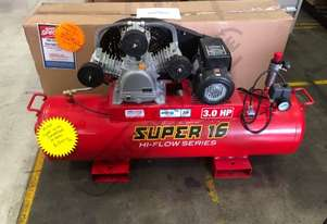 SUPER 16 Air Compressor 125 Litre Tank / 3hp 16cfm / 453lpm Displacement