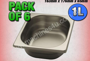 6 PACK OF 1/6 GASTRONORM TRAY 65MM