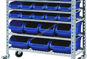 MOBILE STORAGE BIN RACK WITH 22 BINS
