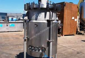 Pressure Vessel Tank (Stainless Steel & Jacketed), 700Lt, 850mm Dia x 1200mm H.