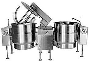 Crown ELTM1002 2 x 379 Litre Twin Electric Mixer Kettle - On Legs