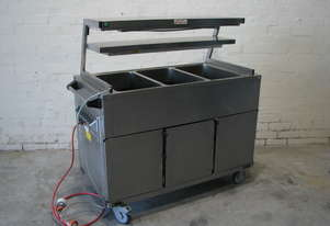 Commercial Bain Marie Food Transport Trolley 3 Module with Hot Cupboard