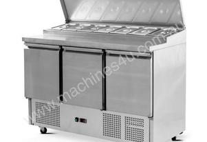 3 Door Saladette Fridge - 7 x G/N 1/3 GN trays