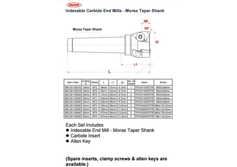 MT3 30mm TiN Carbide Indexable End Mill